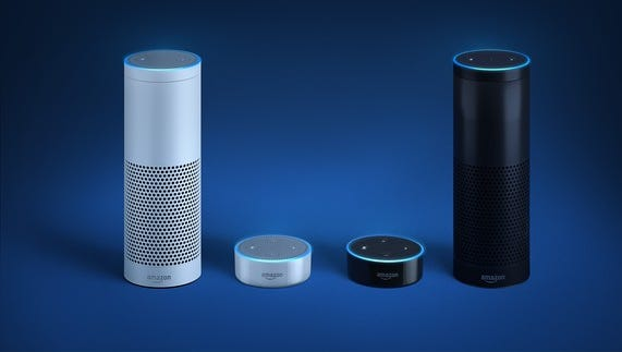 Echo and Echo Dot smart home speakers featuring Alexa virtual assistant.