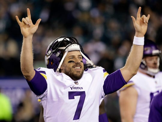 Minnesota Vikings quarterback Case Keenum reacts after