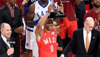 Feb 14, 2016; Toronto, Ontario, CAN; Western Conference guard Russell Westbrook of the Oklahoma City Thunder (0) holds his MVP trophy after the NBA All Star Game against the Eastern Conference at Air Canada Centre. Mandatory Credit: Peter Llewellyn-USA TODAY Sports