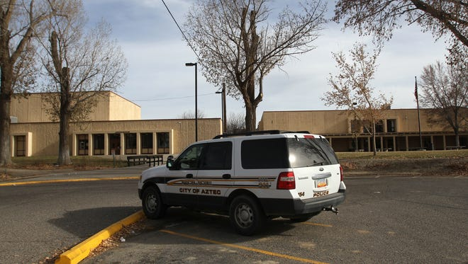 Aztec High School is pictured Wednesday after a bomb threat was reported.