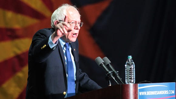 Nick Oza/The Republic Democratic presidential candidate Bernie Sanders speaks to over 7 thousand people during a rally Tuesday, March 3, 2016, at the Phoenix Convention Center.