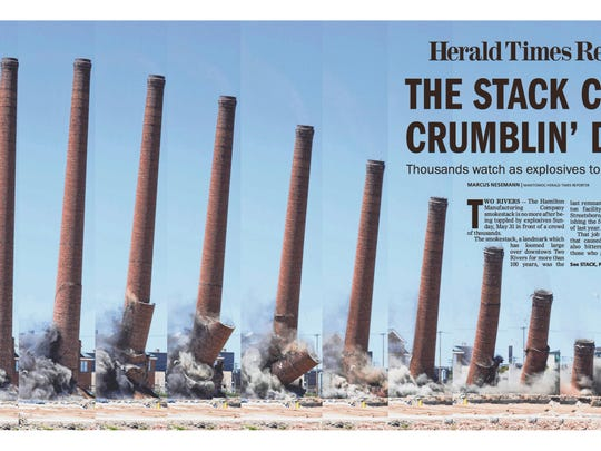 HTR Media's front page of the Hamilton smokestack demolition won honors for general news photo and front-page design.