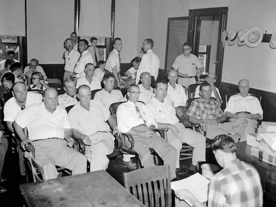 The 12 men sitting in the two rows at the Tallahatchie County Courthouse in Sumner comprised the all-white jury which acquitted Roy Bryant and J. W. Milam, whom the jury acquitted in 1955 of Emmett Till's murder.