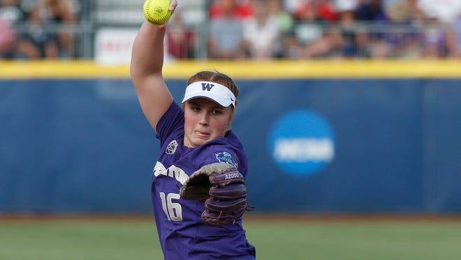 No. 6 Washington softball ace Gabbie Plain improved to 23-0 this season after the Huskies' 6-1 victory over No. 4 Oregon Sunday in Seattle.