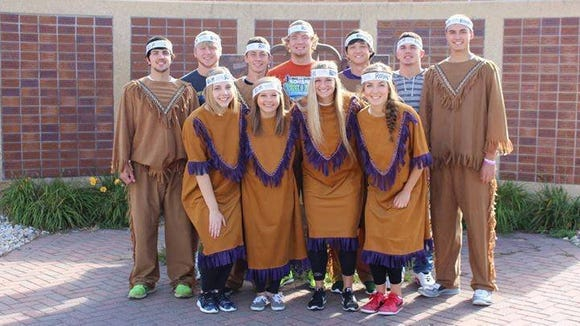 Watertown High School students wear mock Native regalia