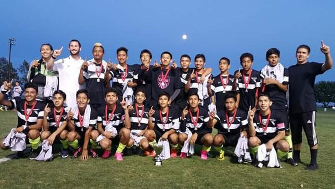 Triumphant players from the CCFA Crew after their championship match this weekend in Davis, CA.