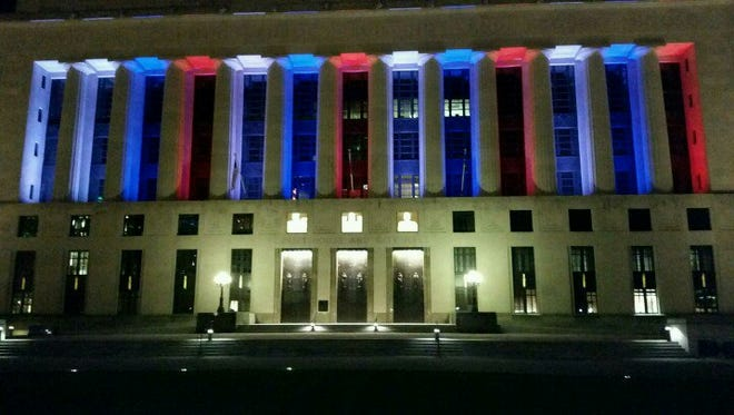 Metro Courthouse lit in solidarity with France