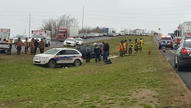 Police investigate a crash on Route 30 in Lancaster County on Friday.