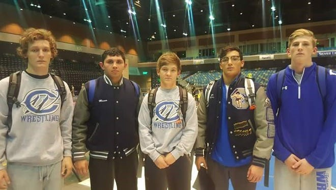 Left to right, Justin wood, Mateo Messer, Cody wood, Mario carrasco, and mason box. A top four placing earns the wrestler High School All American status.