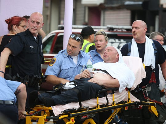 Emergency responders had to battle heat while at the building collapse on Academy Street in the City of Poughkeepsie  on June 18, 2018.