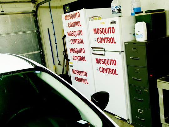 Refrigerators hold collected mosquito samples at the