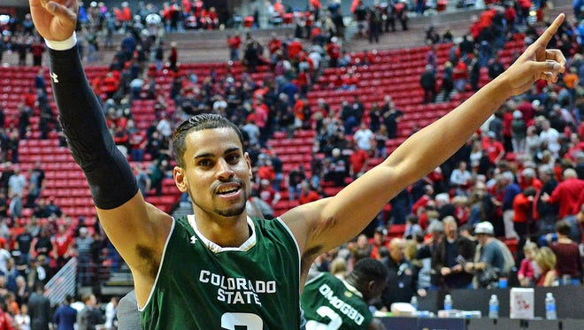 Jan 28, 2017; San Diego, CA, USA; Colorado State Rams guard Gian Clavell (3) celebrates after hitting the game winning shot in a 78-77 win over the San Diego State Aztecs at Viejas Arena at Aztec Bowl. Mandatory Credit: Jake Roth-USA TODAY Sports