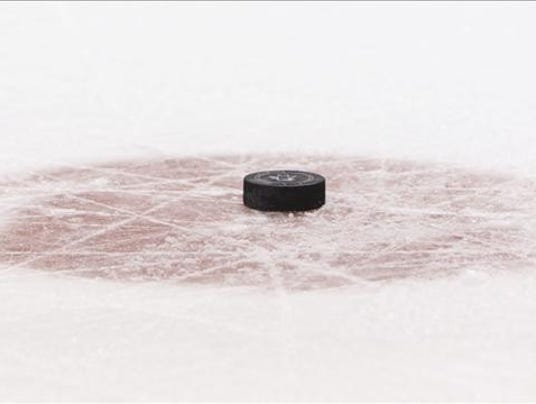Puck at centre Ice