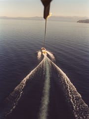 The view from parasailing above Lake Tahoe.