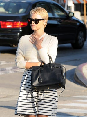 Pamela Anderson was spotted with a new short haircut.