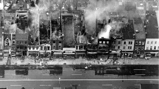 Washington D.C. on fire on April 5, 1968, following the assassination of Martin Luther King Jr.