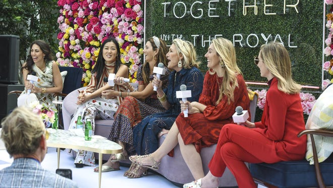From left, Elisabeth Munder leads a panel discussion with Laura Kim, Joey Wolffer, Susan Magrino, Maura Smith and Adriana Epelboim-Levy during The Royal Poinciana Plaza's International Woman's Day Celebration on March 8.
