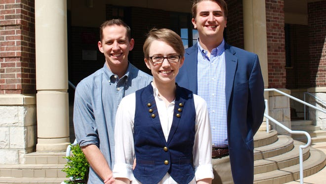 Graduating seniors (from left to right) Brandon White, Bri Hopkins and Ted Boland are among those who landed jobs well before next week's commencement ceremonies.