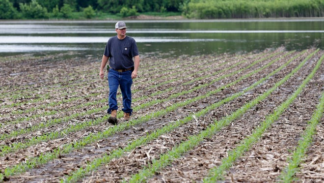 In this May 29, 2019 photo, Jeff Jorgenson looks over a partially flooded field he farms near Shenandoah, Iowa. About a quarter of his land was lost this year to Missouri River flooding from the neighboring Nishnabotna River.