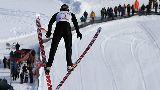 A ski jumper takes to the air at the Snowflake Ski Club outside Westby.