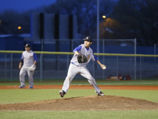 Bloomfield's Adriano Stevenson pitches against Grants on Friday at John Gutierrez Field in Bloomfield.