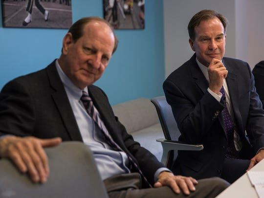 Rusty Hills, left, senior advisor to Bill  Schuette and Michigan Attorney General Bill Schuette during an interview at the Free Press office in Detroit in June 2017.