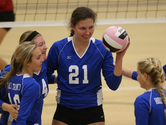 Mikaela Foecke was named to the Des Moines Sunday Register's all-state volleyball team during her high school career at Holy Trinity Catholic. She now plays at the University of Nebraska.