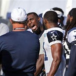 Dallas Cowboys wide receiver Dez Bryant (88) yells at defensive back Tyler Patmon, not in photo, as Bryant confronted him after a rough play during the Cowboys afternoon practice at their 2015 training camp in Oxnard, Calif., Sunday.