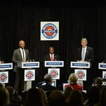 In this May 17, 2016, file photo,, Colorado U.S. Senate candidates, from left, Robert Blaha, Ryan Frazier, Darryl Glenn, Jack Graham and Jon Keyser, participate in a Republican Senate debate hosted by The Denver Post in Denver. Not so long ago, Colorado's Republican Party relished the chance to unseat Democratic U.S. Sen. Michael Bennet in this presidential swing state. Now it's presiding over a five-way primary Tuesday, June 28 among non-front-line candidates who are fighting to make themselves known to the Colorado electorate.