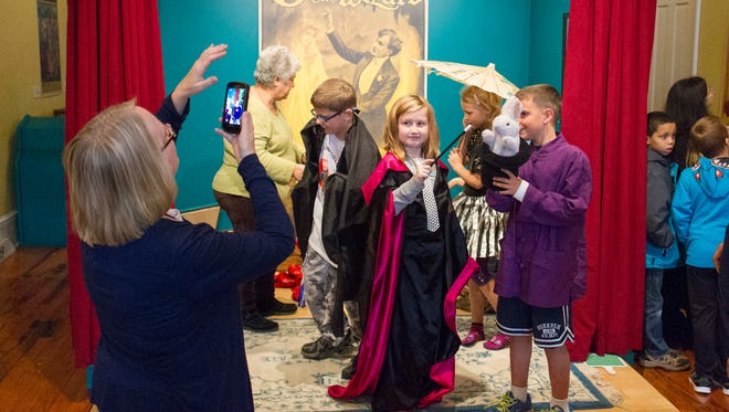 Sonoma Elementary students pose for a picture dressed as magicians at the American Museum of Magic.