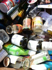 Bottles, glass and plastic are in a single-stream bin