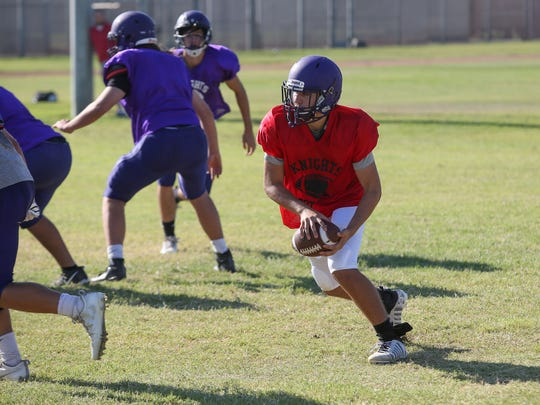 The Shadow HIlls Knights football team practices in Indio, August 8, 2017.