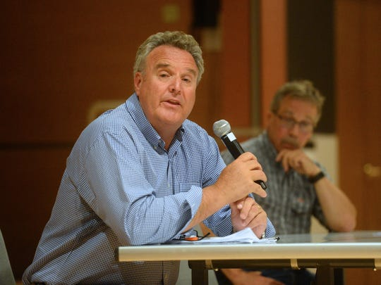 John Shanahan, CEO of Sandfire Resources America Inc., speaks during a June 2017 forum in Great Falls on the Black Butte copper project and the Smith River. Shanahan died Saturday. He was 58.