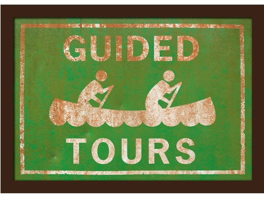 retro style Guided Tours canoeing sign