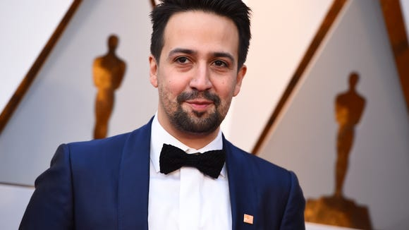 Lin-Manuel Miranda arrives at the Oscars on March 4, 2018 in Los Angeles.
