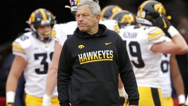 Iowa head coach Kirk Ferentz follows warmups before a game on Nov. 29, 2019 against Nebraska in Lincoln, Nebraska.