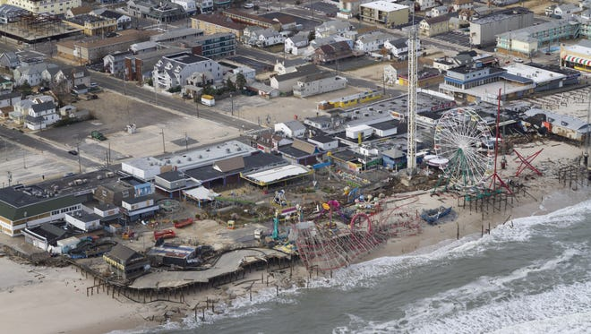 The Seaside Park boardwalk in the aftermath of superstorm Sandy.