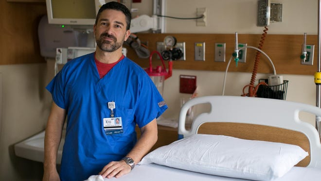 Eric North is a Registered Nurse at Highland Hospital in Rochester on Tuesday, December 15, 2015.