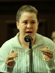 Jamie Borushaski looks toward the jury while testifying