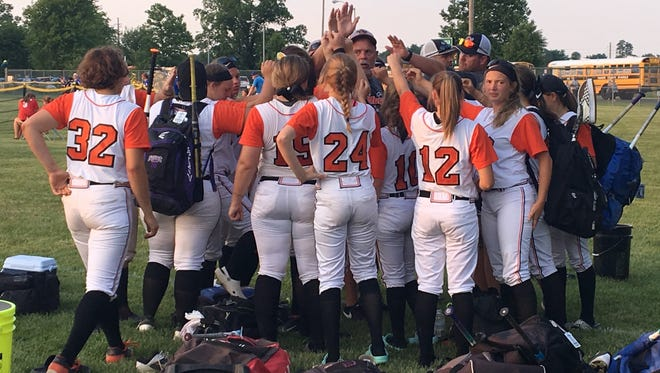 Ryle players gather after their loss during Ryle's 3-2 loss to Warren East in the KHSAA state softball tournament June 7, 2018 at Jack C. Fisher Park, Owensboro, KY.