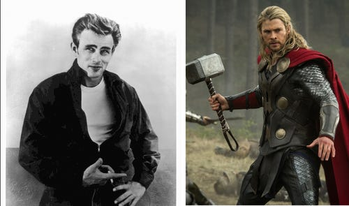 James Dean, left, and Chris Hemsworth (as Thor) ... ahhh. (Photo: Dean by Parker Films; Thor by Jay Maidment, Walt Disney Studios and Marvel)