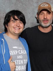 "Indio grad Lincoln Castellanos on left with Andrew Lincoln who plays Rick on ""The Walking Dead."""