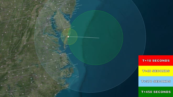 Where the suborbital rocket launch can be seen Tuesday.