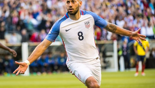 SEATTLE, WA - JUNE 16: Clint Dempsey #8 of United States celebrates his goal during the Copa America Centenario Quarterfinal match between United States and Ecuador at CenturyLink Field on June 16, 2016 in Seattle, Washington. The United States won the match