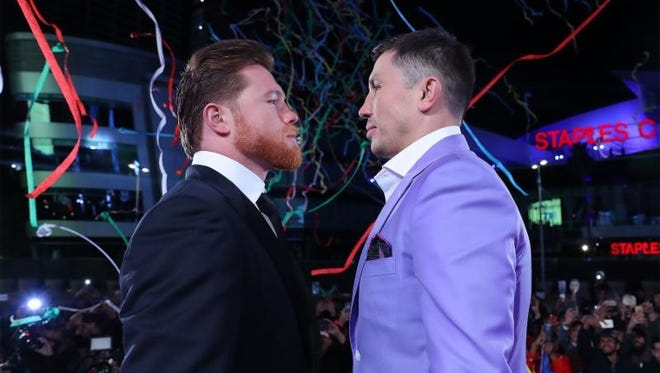 Canelo Alvarez, left, and Gennady Golovkin met face-to-face for the first time since their draw last September,