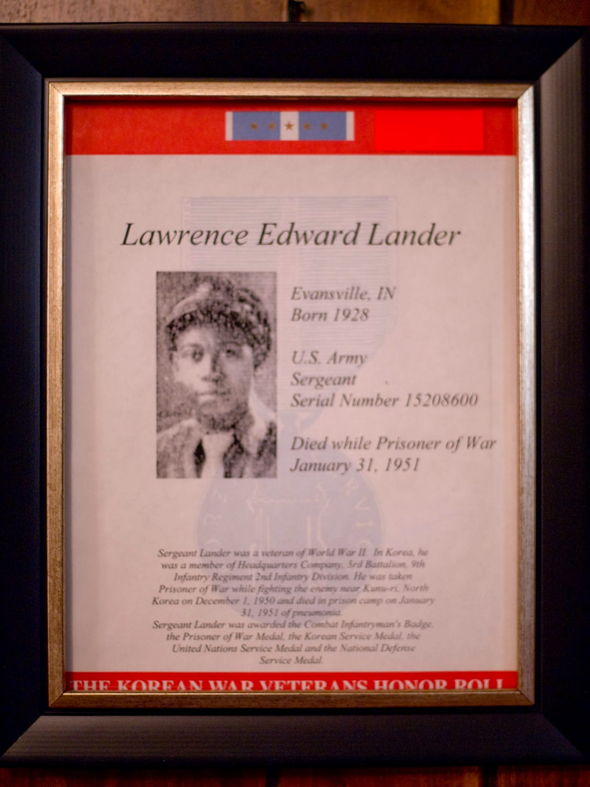 U.S. Army Sgt. Lawrence Edward Lander died while a