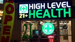 A marijuana store in Denver advertises its offerings