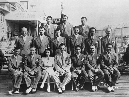 Frank Sinatra, seated fifth from left, as a vocalist with the Harry James Orchestra, at the Steel Pier in Atlantic City in 1940.
