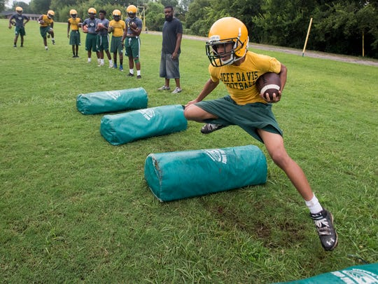 Jeff Davis' players during football practice at the JD campus in Montgomery, Ala. on Tuesday August 8, 2017.
