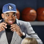 Karl-Anthony Towns reacts after being selected first overall by the Minnesota Timberwolves during the NBA draft Thursday.